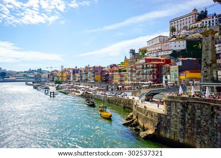 Porto old town embankment on the Douro River - stock photo