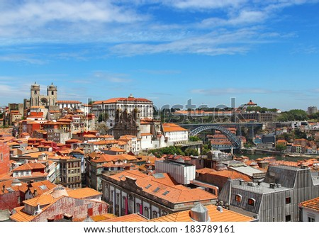 Porto old town with Porto Cathedral and Dom Luis Bridge, Portugal - stock photo