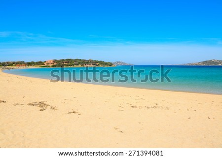Porto Pollo beach on a clear summer day, Sardinia - stock photo