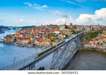 Porto, Portugal at Dom Luis Bridge - stock photo