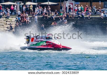 PORTO, PORTUGAL - AUGUST 1, 2015: Alex Carella (ITA) during the U.I.M. F1H2O World Championship in Porto, Portugal. - stock photo