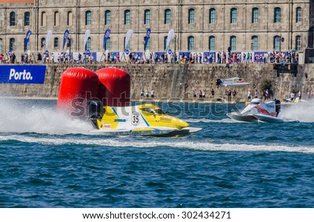 PORTO, PORTUGAL - AUGUST 1, 2015: Elisa Leidi (ITA) during the U.I.M. F1H2O World Championship in Porto, Portugal. - stock photo