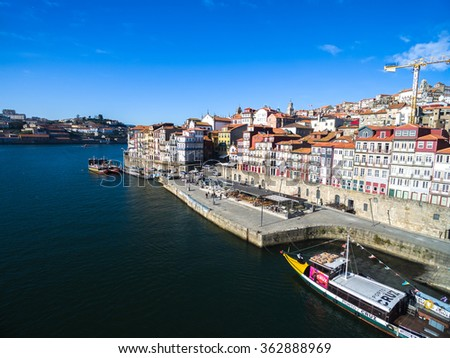 PORTO, PORTUGAL - CIRCA DECEMBER 2015: Ribeira District of Porto, Portugal
