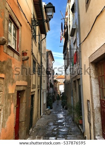 Porto, Portugal - December 10, 2016: narrow street on the Old Town of Porto city