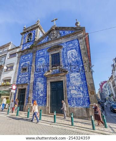 Porto, Portugal. January 5, 2015: Santa Catarina Chapel, aka Almas Chapel decorated with the typical Portuguese Blue Tiles aka Azulejos. Located on the Santa Catarina Street.  - stock photo