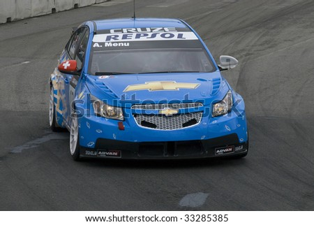 PORTO, PORTUGAL - JULY 5: ALAIN MENU of SUI in his Chevrolet Cruze LT participates in the FIA WORLD TOURING CAR CHAMPIONSHIP on July 5, 2009 in Porto, Portugal