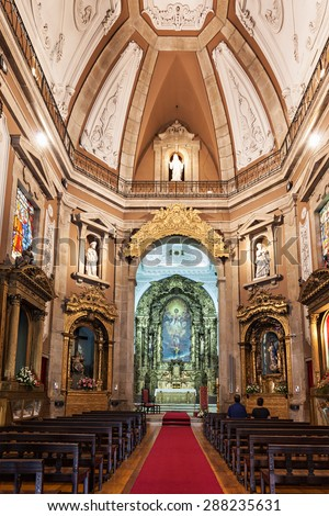 PORTO, PORTUGAL - JULY 01: Church of Saint Ildefonso interior on July 01, 2014 in Porto, Portugal