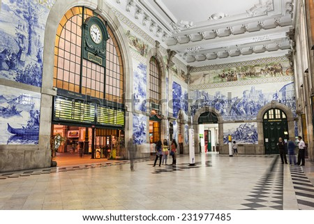 PORTO, PORTUGAL - JULY 02: Sao Bento Railway Station on July 02, 2014 in Porto, Portugal - stock photo