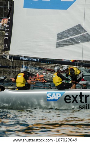 PORTO, PORTUGAL - JULY 07: SAP Extreme Sailing Team compete in the Extreme Sailing Series boat race on july 07, 2012 in Porto, Portugal.