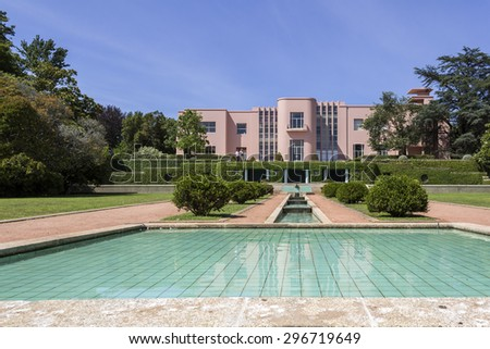 PORTO, PORTUGAL - JULY 05, 2015: Serralves gardens, a green park that extends over 18 hectares involving the Museum of Contemporary Art (Serralves Foundation). On July 05, 2015 in Porto, Portugal. - stock photo