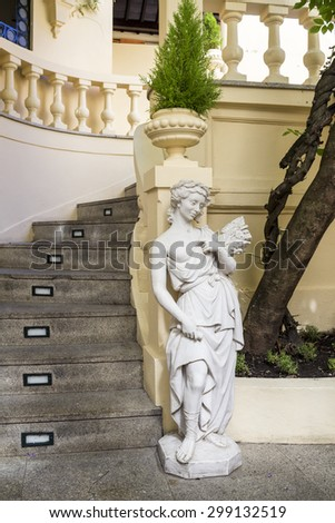 PORTO, PORTUGAL - JULY 04, 2015: The Majestic, historical coffee yard stairs detail, first opened on December 17, 1921, it�´s located in Santa Catarina, On July 04, 2015 in Porto, Portugal. - stock photo