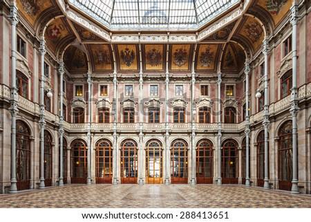 PORTO, PORTUGAL - JULY 02: The Palacio da Bolsa (Stock Exchange Palace) is a historical building on July 02, 2014 in Porto, Portugal - stock photo