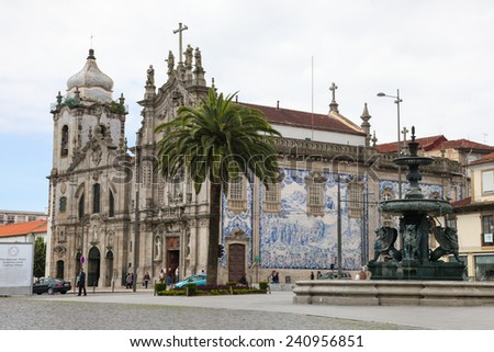 PORTO, PORTUGAL - JUNE 4, 2014: Church of the Carmelites and Our Lady of Mount Carmel in the center of Porto, Portugal. - stock photo