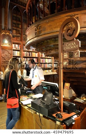 PORTO, PORTUGAL - JUNE 28, 2016:  Lello & Irmao bookstore, one of the oldest and most beautiful bookstore in the world