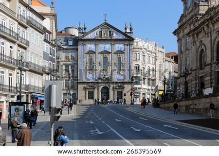 Porto, Portugal - March 23, 2015: Church of Santo Antonio dos Congregados from 1703 with a Baroque style facade, dedicated to St Anthony of Padua and Lisbon. - stock photo