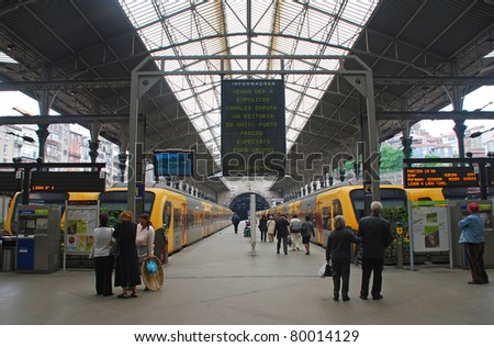 PORTO, PORTUGAL - MAY 06: Trains at platform of  Sao Bento Train Station on May 06, 2009  in Porto, Portugal.  Built in 1916, this station is  important transportation network and  famous landmark. - stock photo