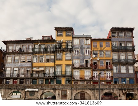 PORTO, PORTUGAL - OCTOBER 19, 2015: Colorful houses of Porto city - stock photo