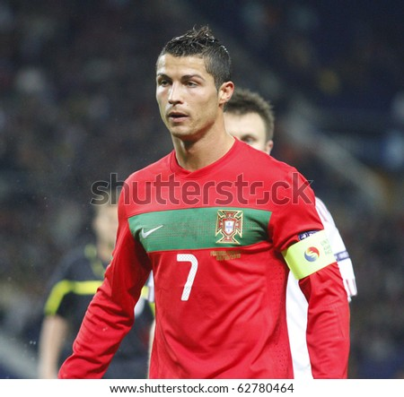 PORTO, PORTUGAL - OCTOBER 8: Cristiano Ronaldo (POR) looks confident after scoring Portugal's 3rd goal in Euro 2012 Group Stage Qualifying match against Denmark on October 8, 2010 in Porto, Portugal - stock photo