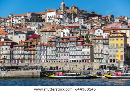 PORTO, PORTUGAL - OCTOBER 21, 2015: Panorama of river Douro and the old town of Porto, the second largest city in Portugal after Lisbon