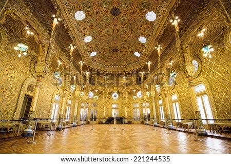 PORTO, PORTUGAL - OCTOBER 15, 2014: The Stock Exchange Palace (Palacio da Bolsa) in the Arab Room. The palace was built in the 19th century by the city's Commercial Association. - stock photo