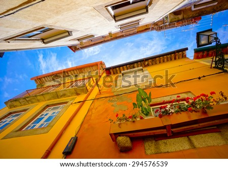Porto, Portugal old town traditional facades - stock photo