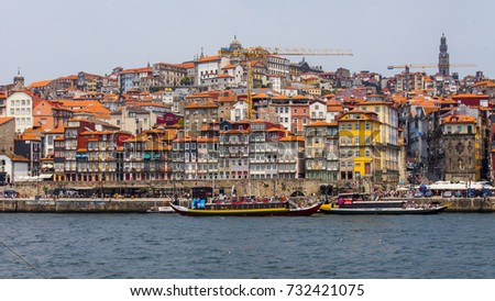 PORTO, PORTUGAL, on June 17, 2017. The walking boat is moored at the bank of the river of Duero.