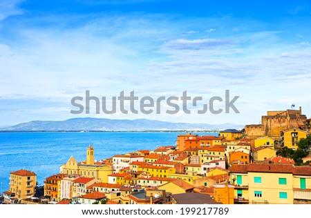 Porto Santo Stefano village, church and castle aerial view, italian travel destination. Monte Argentario, Tuscany, Italy. - stock photo