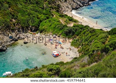 Porto Timoni, the most famous and beautifull beach in Corfu island, Greece. Important tourist attraction. - stock photo