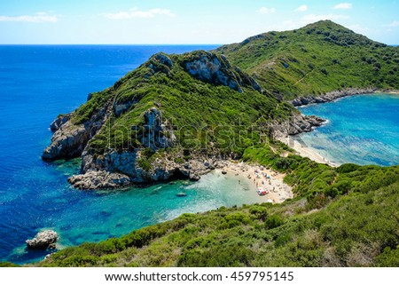 Porto-Timoni, the most famous and beautifull beach in Corfu island, Greece. Important tourist attraction. - stock photo