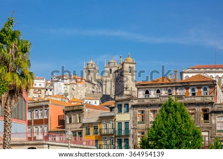Porto view with the cathedral in the background. - stock photo