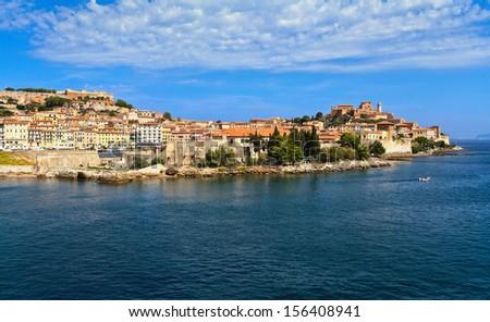 Portoferraio from the sea, Elaba island, Tuscany, Italy - stock photo