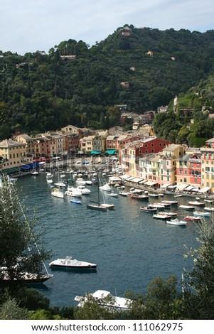 Portofino along the Italian coast - stock photo