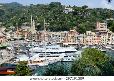 Portofino, Italy - 9 July 2015: The beautiful bay of Portofino fishing village,luxury harbor,Ligurian Coast,Italy