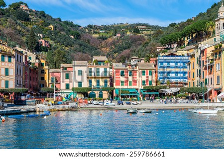PORTOFINO, ITALY - MAR 7, 2015: Beautiful colorful houses in Portofino. Portofino is a resort famous for its picturesque harbour