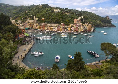 PORTOFINO, ITALY - MAY 2, 2015: View at port in Portofino, Italy. Portofino is an Italian fishing village and vacation resort famous for its picturesque harbour.