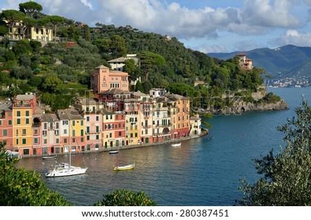 PORTOFINO, ITALY - NOVEMBER 9: Panoramic view over Portofino, an Italian fishing village and upmarket resort famous for its picturesque harbour. Portofino, Italy - Nov 9, 2014 - stock photo