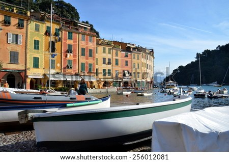 PORTOFINO, ITALY - NOVEMBER 9: View on streets and boats of Portofino from the sea. An Italian fishing village and upmarket resort famous for its picturesque harbour. Portofino, Italy - Nov 9, 2014 - stock photo