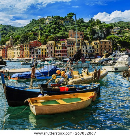 Portofino, Italy - panorama - stock photo