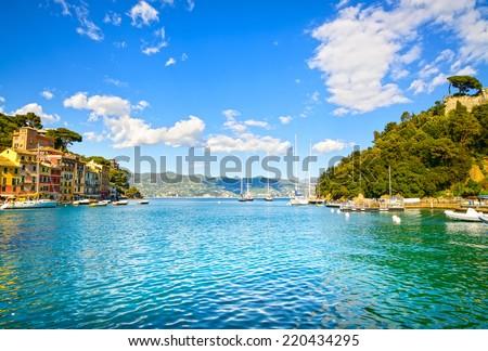 Portofino luxury landmark. Village and yacht in little bay harbor. Liguria, Italy - stock photo