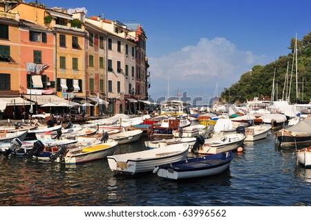 Portofino village harbor, Liguria, Italy - stock photo