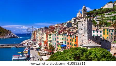 Portovenere - beautiful famous Cinque Terre in Liguria, Italy - stock photo