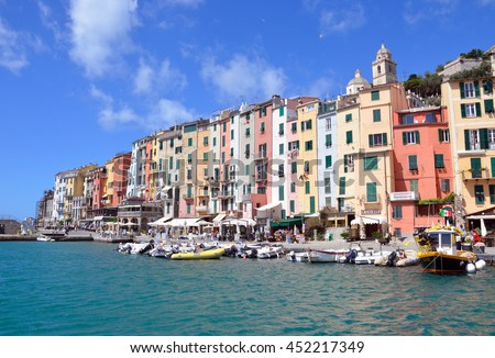 PORTOVENERE, ITALY - JUNE 17 2016: Portovenere is located on the Ligurian coast and it is famous for colorful buildings at the seaside.