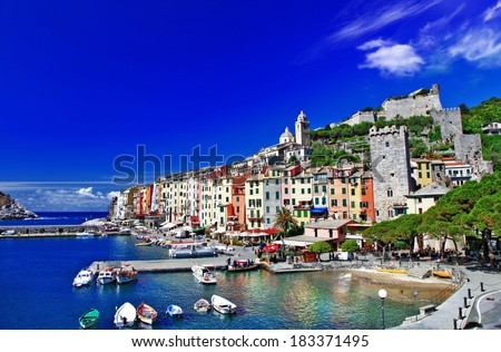 Portovenere, scenic Ligurian coast of Italy - stock photo