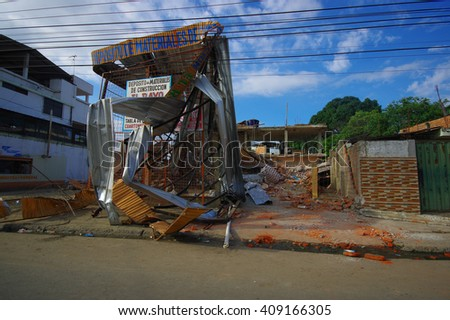 Portoviejo, Ecuador - April, 18, 2016: Metal structure from building destroyed fasade after earthquake of 7.8