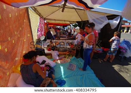 Portoviejo, Ecuador - April, 18, 2016: Tents for the refugees after 7.8 earthquake. - stock photo