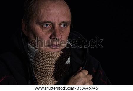 Portrair of man contemplating His life - stock photo