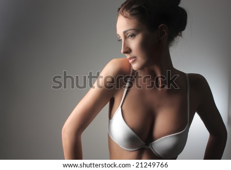 portrait a beautiful woman in lingerie - stock photo