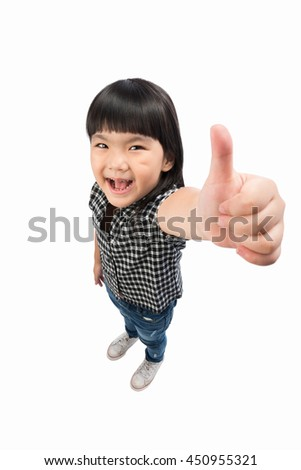 Portrait a little Asian beautiful and confident girl showing thumbs up isolated on white with Clipping path. - stock photo