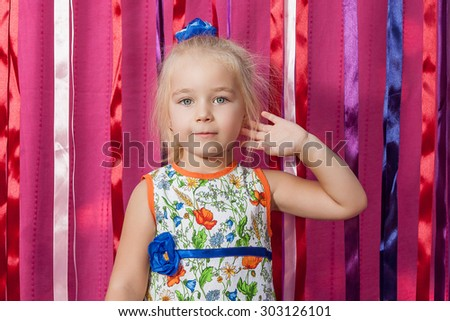 Portrait Adorable little girl  on pink  background  - stock photo