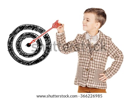 Portrait adorable young happy boy drawing doodle arrow hitting a target icon on white background. - stock photo
